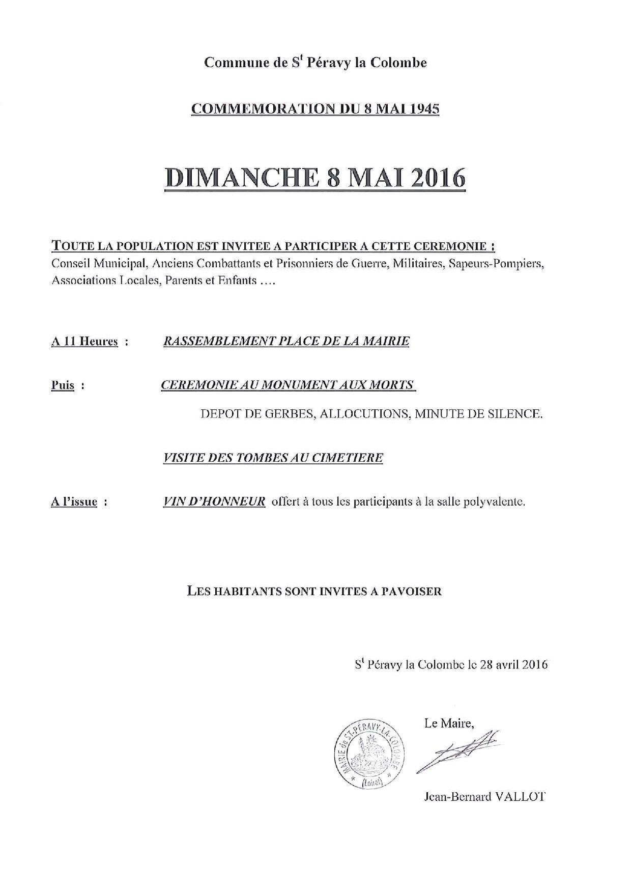 programme 8 mai 2016